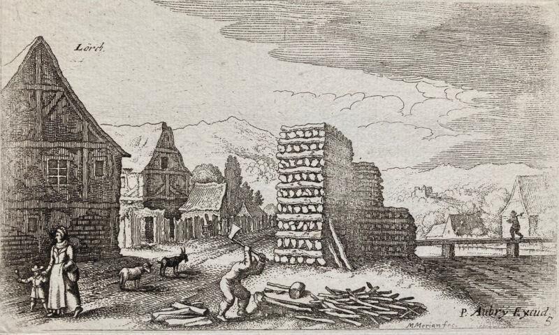 "Matthaus Merian Landscape Etching ""Lorch"" Germany 17th Century Pub P. Aubry"