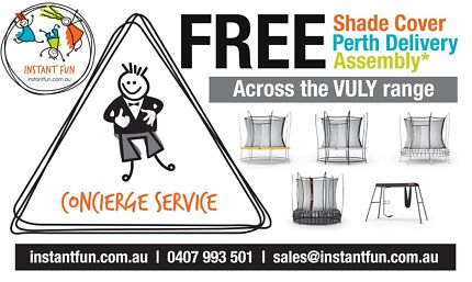 VULY TRAMPOLINES (FREE SHADE COVER+FREE DELIVERY+FREE ASSEMBLY)
