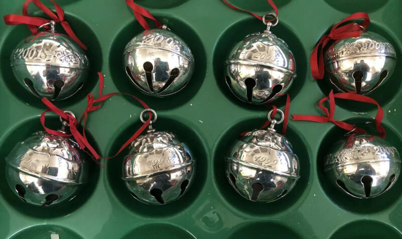 Wallace Silver Plated Sleigh Bells Ornaments - Lot Of 8!  1997-2004