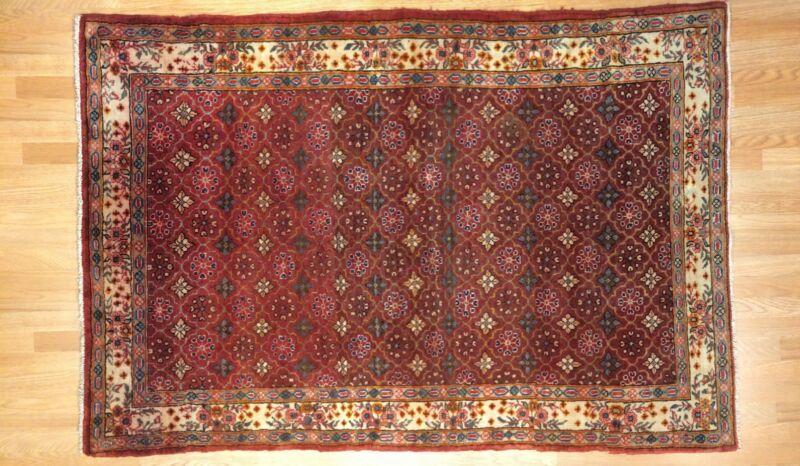Tremendous Tribal - 1940s Antique Oriental Rug - Nomadic Carpet - 4.5 X 6.6 Ft