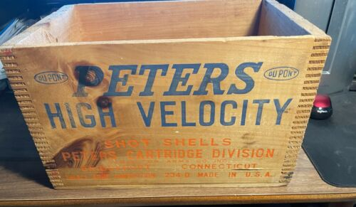 RARE PETERS HIGH VELOCITY 12 Ga 2 3/4 SHOT SHELL AMMO DOVETAIL CRATE / BOX