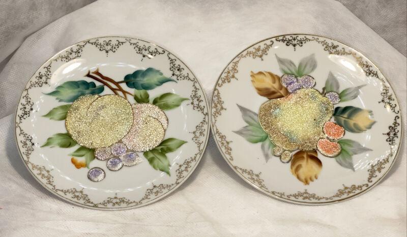 Vintage Wheelock Peoria Hand Painted Coralene Fruit Plates Orig Stickers M