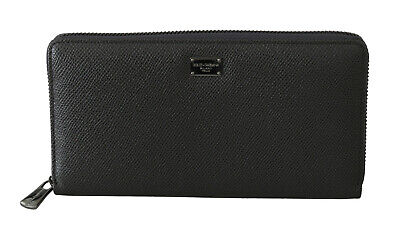 DOLCE & GABBANA Wallet Gray Leather Zipper Continental Mens Bill Card Coin
