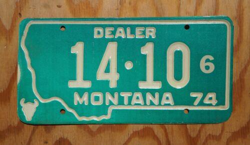 Embossed Dated 1974 Montana Dealer License Plate # 14 - 10