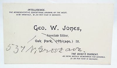 RARE 1800s INTELLIGENCE JOURNAL EDITOR BUSINESS CARD ADVERTISEMENT CHICGAO IL
