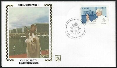 BELO HORIZONTE, BRAZIL EVENT COVER - POPE JOHN PAUL II VISIT - ZASO SILK CACHET!