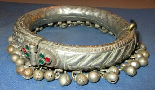 "Anklet Vintage Afghan Kuchi Tribal Alpaca Silver 1"" tall 2.5"" dia"