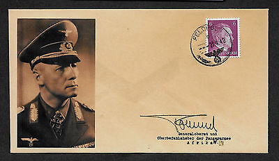 Erwin Rommel Collector's Envelope with genuine 1941 Hitler Postage Stamp *A587OP
