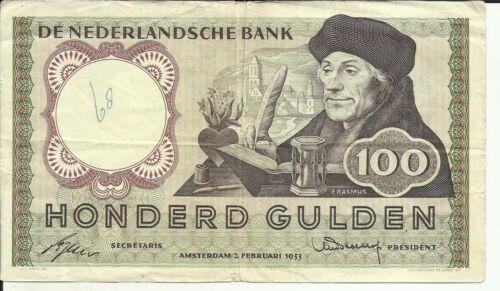 NETHERLANDS 100 GULDEN 1953  P 88. F CONDITION. 5RW 14ABR