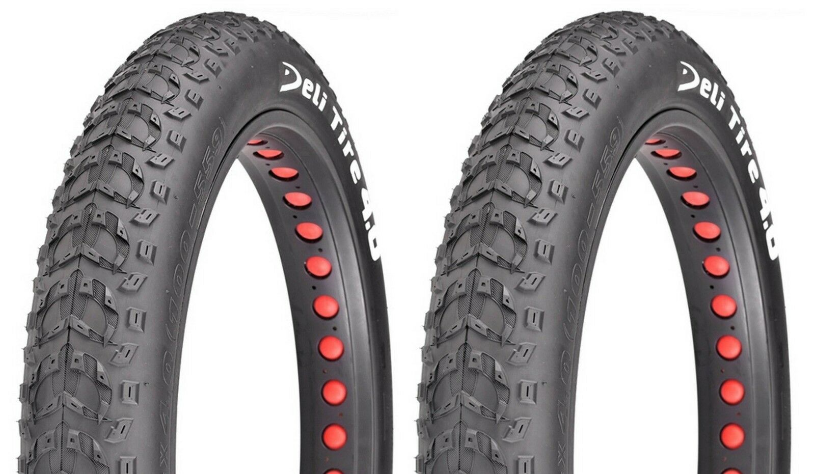 "Pair  of Deli Fat Bike Bicycle Tires 26x4.0"" Black Big Bud"
