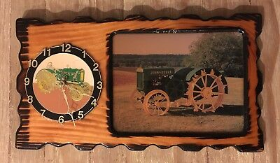 Vintage Lacquer Wood JOHN DEERE Wall Clock with Farm Scene Tractor