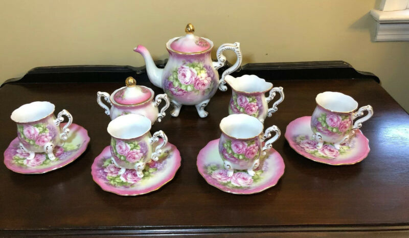 Victoria's Garden Footed Teapot & Creamer & Sugar & 4 Cups & Saucers