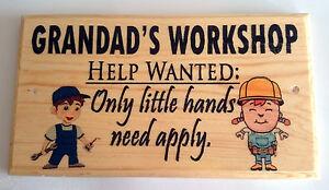 Large Grandads Workshop Plaque / Sign - Help Wanted ...