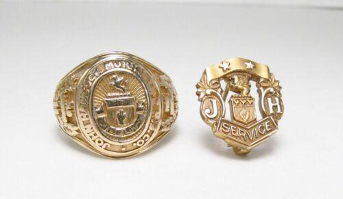 Vintage John Hancock Mutual Life Insurance 10K Gold Award Ring Sz 6.75 + GF Pin
