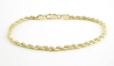 Real 10k Yellow Gold Genuine 2.5mm Diamond Cut Womens Rope Chain Bracelet 7""