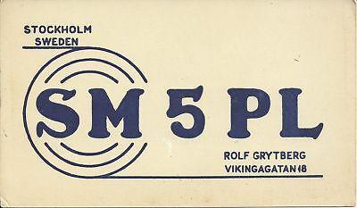 OLD VINTAGE SM4PL STOCKHOLM SWEDEN AMATEUR RADIO QSL CARD