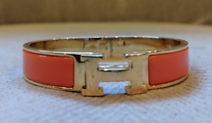 Hermes H Orange Enamel Bangle Bracelet.
