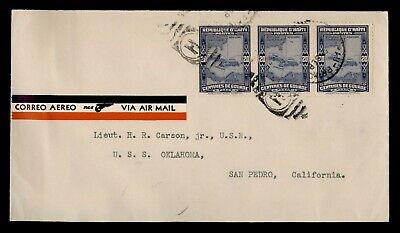 DR WHO 1935 HAITI PAA AIRMAIL TO USS OKLAHOMA NAVAL SHIP USA  f40567