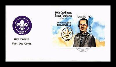 DR JIM STAMPS SCOUT JAMBOREE FDC DOMINICA SOUVENIR SHEET MONARCH SIZE COVER