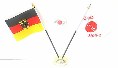 Germany With Crest & Tokyo Japan Olympics 2020 Desk Flags & 59mm BadgeSet