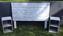 QUEEN Timber Bed Head Distressed Aged + 2 Bedsides NEW Carrara Gold Coast City Preview
