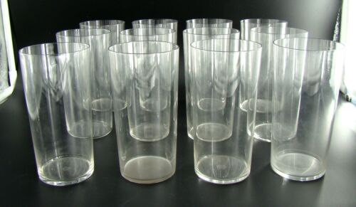 Signed Set of Twelve Art Deco French Baccarat Highball Crystal Glasses, ca 1930
