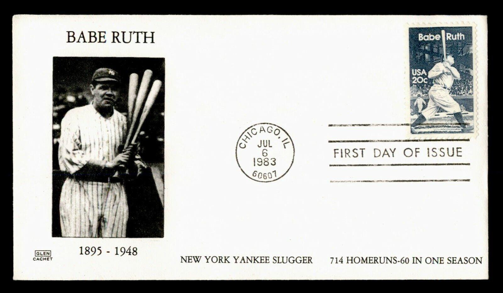 DR WHO 1983 FDC BABE RUTH BASEBALL PLAYER GLEN CACHET C218650 - $0.50