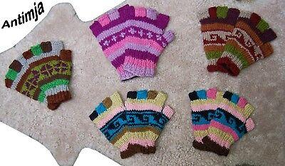 Handschuhe Wolle Fingerlose Gefüttert Warme Fingerlinge Bunt Handgestrickt Wolle Warme Wolle Handschuhe