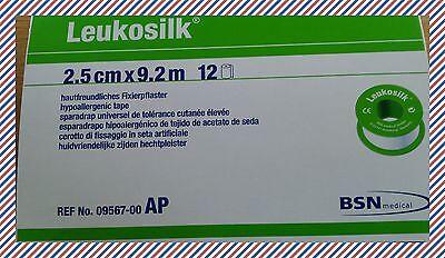 Leukosilk® Pflaster 2,5 cm x 9,2 m 1 Packung mit 12 Rollen Silk Seide VD:03/21