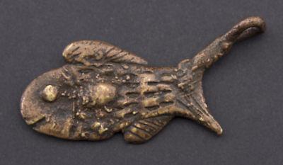 Pendant African Ashanti Art tribale Fish Keychain Bronze ethnic 26174