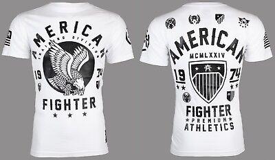 American Fighter Mens T Shirt Fort Hays Eagle White Athletic Biker Gym Ufc  40