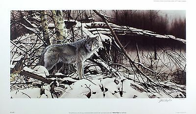 "GEOFF TAYLOR ""Winter Pause"" wolf snow SIGNED ltd ed! SIZE:39cm x 68cm NEW RARE"