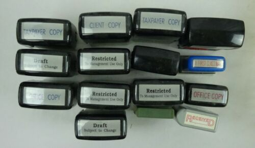 Lot of 15 Office Rubber Stamps