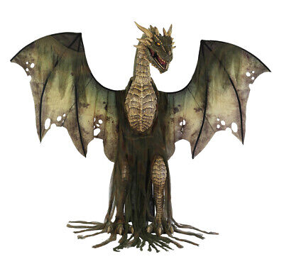 HALLOWEEN LIFE SIZE ANIMATED 7 FT GREEN WINTER FOREST DRAGON PROP - Life Size Animated Halloween Props