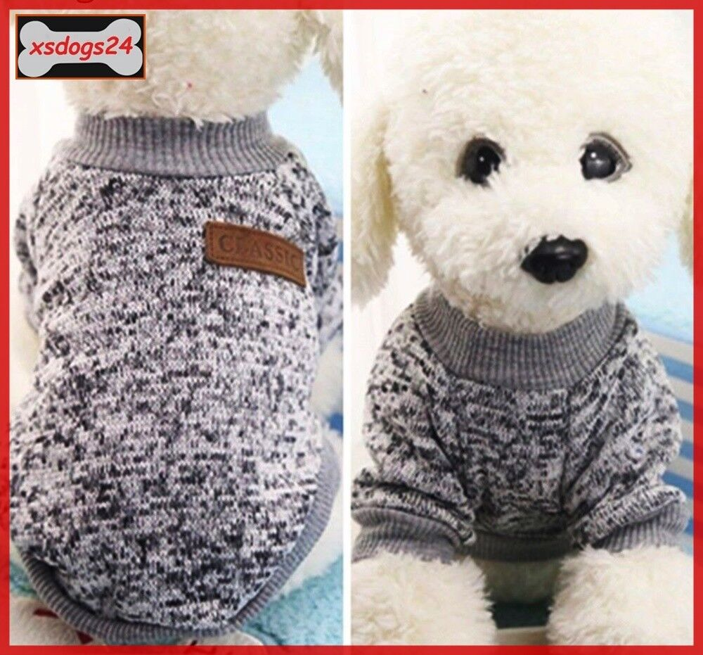 Schicker Hundepullover Mantel Overall Welpe Chihuahua Grau XS-L