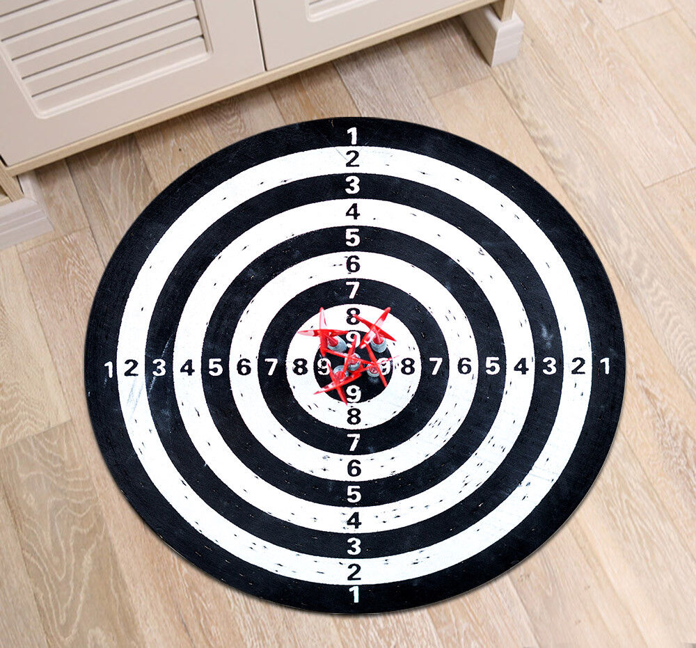 dart board sports round carpet bathroom area