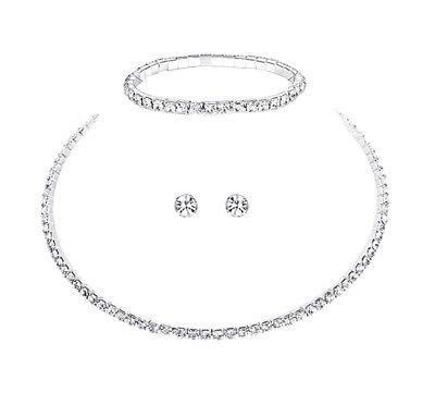 3 tlg Set COLLIER Halskette Armband Strass BRAUTSCHMUCK HOCHZEIT BRAUT SCHMUCK