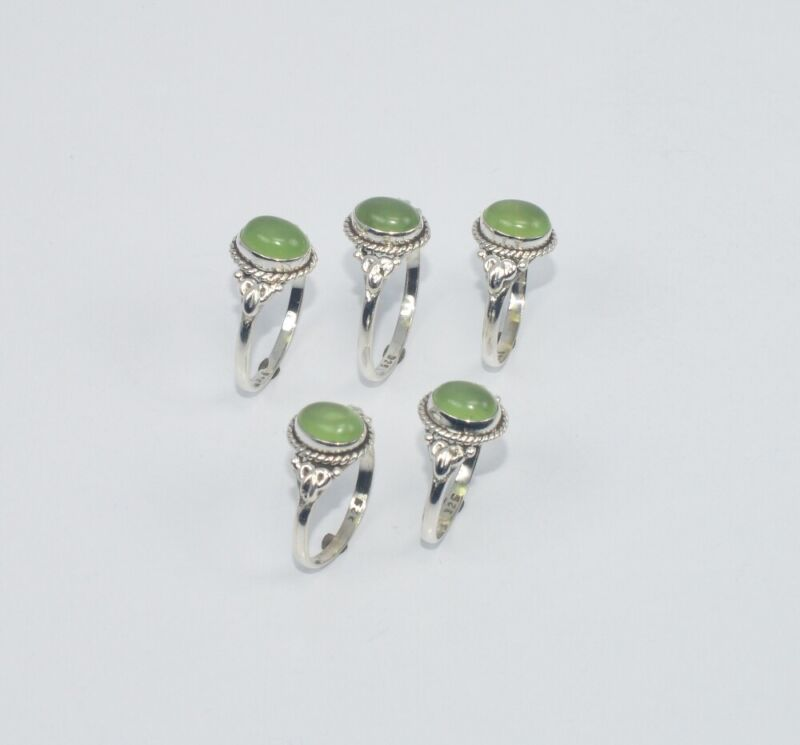 WHOLESALE 5PC 925 SOLID STERLING SILVER GREEN JADE RING LOT GTC289 O z397