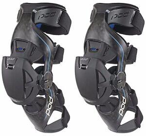 POD K8 MX Knee Brace Carbon/Blue Set Left and Right Pair - NEW- MEDIUM OR LARGE
