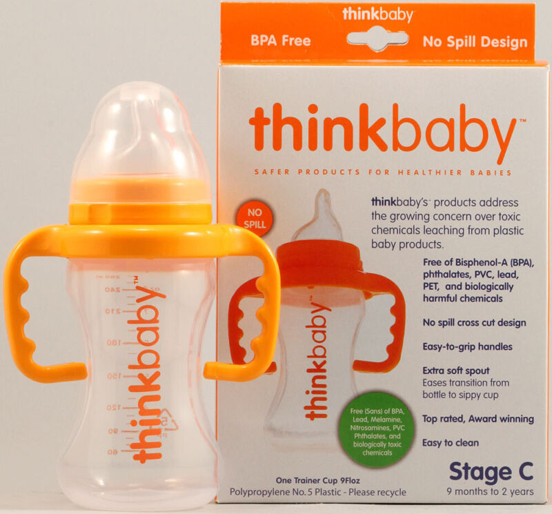 No Spill Sippy Cup, Think Baby, 9 oz Orange