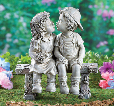 "Little Boy & Girl Sitting On Bench ""First Kiss"" Puppy Love Garden Statue"