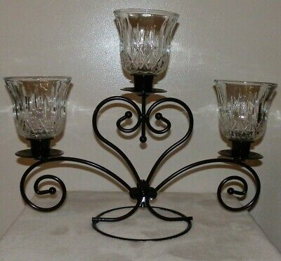 Metal Black Candlestick/Candle Votive Holder Refurbished Powder Coat Finish