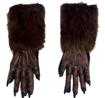 Brown Werewolf Gloves Wolf Halloween Adult Costume Accessory Evil Faux Fur Latex (Halloween Costumes Werewolf Gloves)