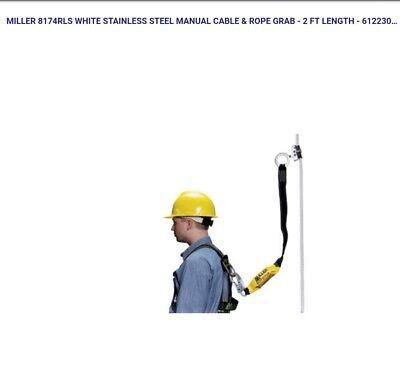 Miller Cable Rope Grab 8174rls White Stainless Steel Manual 2 Ft Length - 61