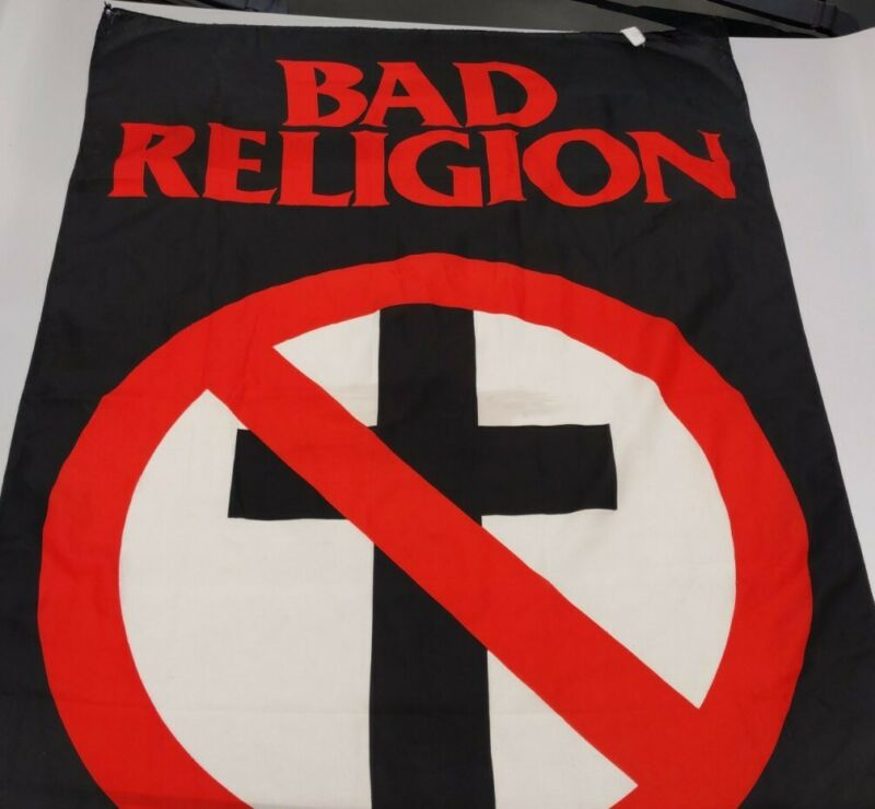 Vintage 1995 BAD RELIGION Crossbuster Classic Buster Logo Fabric Poster Flag