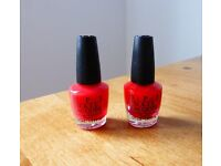 TWO BOTTLES OF OPI HELLO KITTY MINIS - FIVE APPLES TALL AND SAY HELLO KITTY