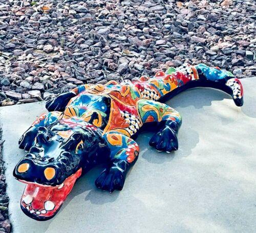 "Mexican Talavera Pottery Alligator Sculpture Ceramic Folk Art X Large 26"""