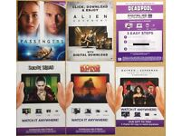 Alien Covenant, Passengers, Prometheus, Inferno, Hail Caesar!, Grimsby film Digital Download codes