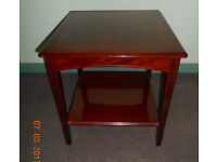 2 square, highly polished, solid wood occasional/lamp tables