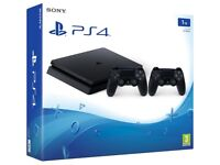 PLAY STATION 4 SLIM 1 TB - 2 CONTROLLERS + 4 GAMES + NOW TV